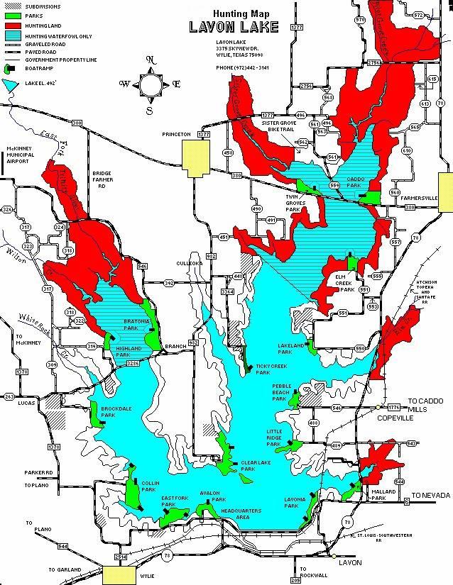 Lavon lake hunting map for Lake lavon fishing